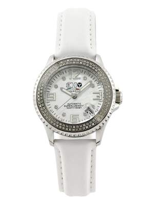 Mother of Pearl 3H 3 H Women's L7D 38MM Steel Automatic Date Luminous Stainless Steel White interchangable Leather Watch