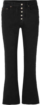 MM6 MAISON MARGIELA Cropped Distressed High-rise Flared Jeans - Black