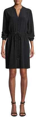 Eileen Fisher Long-Sleeve Crepe Drawstring-Waist Dress