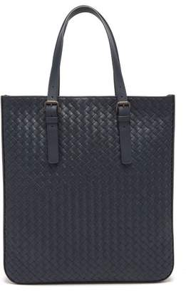 Bottega Veneta Intrecciato Leather Tote - Mens - Navy