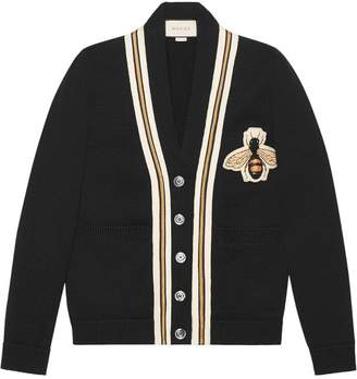 Gucci Wool cardigan with bee appliqué