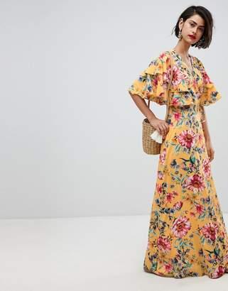 Vero Moda Floral Maxi Dress With Frill Sleeve