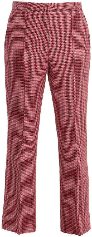 MSGM Mid-rise cropped hound's-tooth wool trousers