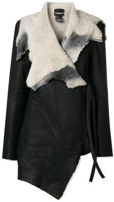 Ann Demeulemeester wrap around leather jacket