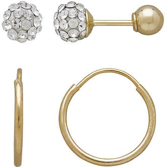 05dafaf44 FINE JEWELRY Infinite Gold Kids 14K Yellow Gold Crystal-Accent Ball Stud  and Hoop 2