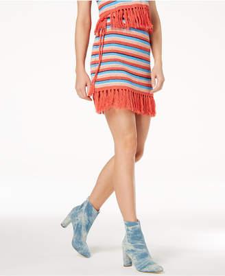 Moon River Fringe-Trim Mini Skirt