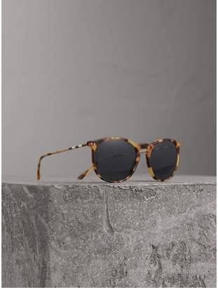 Burberry Check Detail Round Frame Sunglasses, Brown