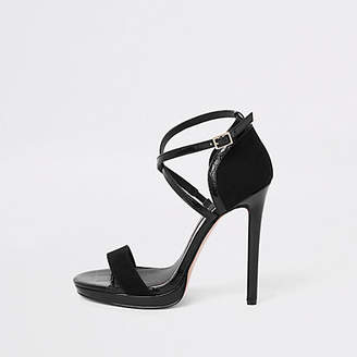 River Island Black wide fit barely there platform sandals