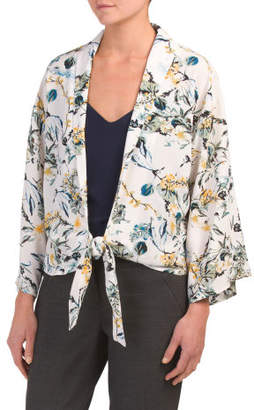 Floral Bell Sleeve Tie Front Top
