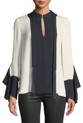 Elie Tahari Karissa Long-Sleeve Two-Tone Silk Blouse