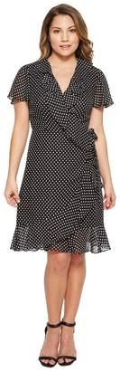 Tahari ASL Petite Polka-Dot Faux Wrap Dress Women's Dress