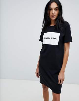 Calvin Klein Jersey T Shirt Dress with Block Logo