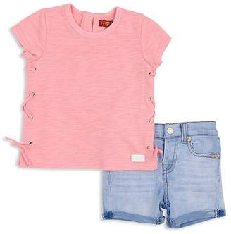 7 For All Mankind Girls' Lace-Up Tee & Shorts Set - Baby