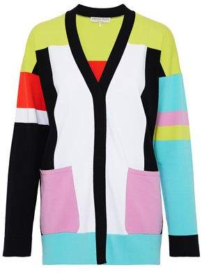 Color-Block Ribbed-Knit Cardigan
