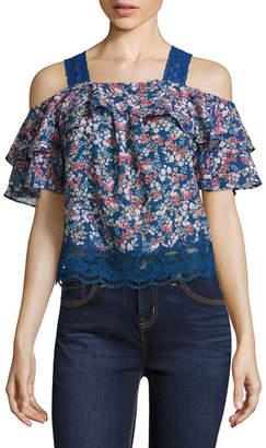Self Esteem Short Sleeve Cold Shoulder Sleeve Floral Peasant Top-Juniors