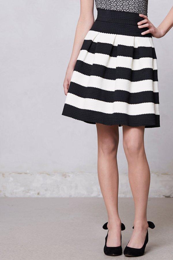 Anthropologie Scalloped Stripes Ponte Skirt