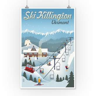 Killington, Vermont - Retro Ski Resort - Lantern Press Artwork (12x18 Art Print, Wall Decor Travel Poster)