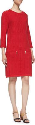 Joan Vass Sand-Stitched Zip-Pocket Shift Dress Petite