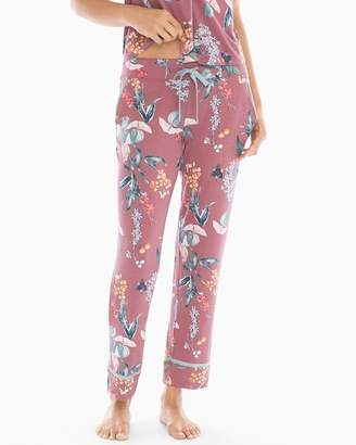 Mulberry Cool Nights Satin Trim Ankle Pajama Pants Curio Floral