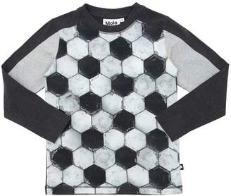 Molo Football Print Cotton Jersey T-Shirt