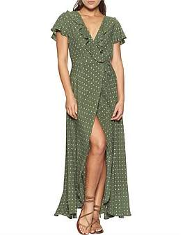 Auguste Polly Frill Neck Wrap Maxi Dress
