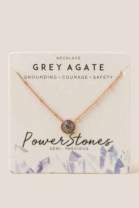 francesca's Power Stone Grey Agate Pendant Necklace - Gray