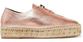 Alexander Wang Devon Metallic Textured-Leather Platform Espadrilles
