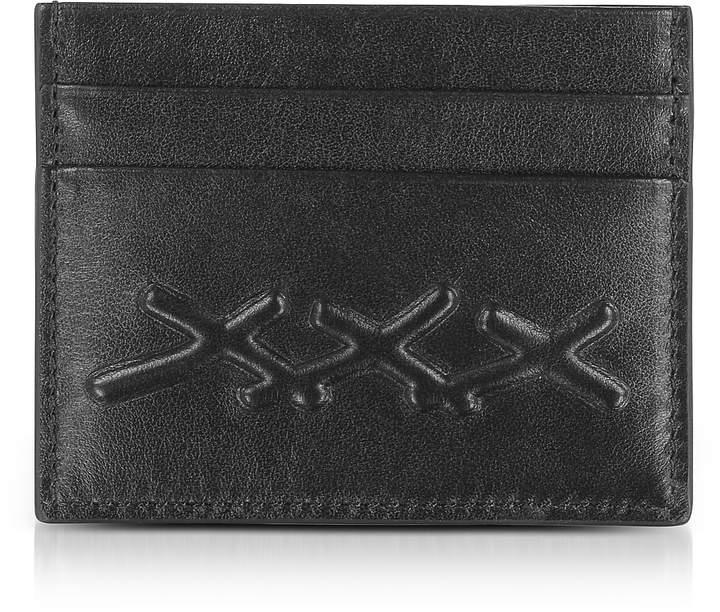 Ermenegildo Zegna Black XXX Embossed Leather Credit Card Holder