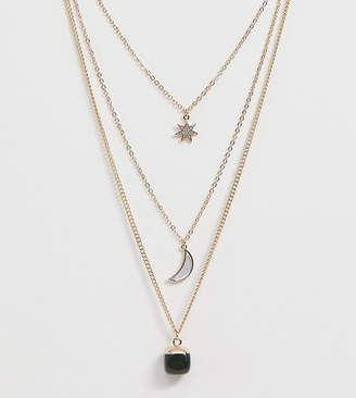 Reclaimed Vintage inspired multirow necklace with moon star stone pendant necklace