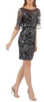 Carmen Marc Valvo Sequin Embellished Sheath Dress