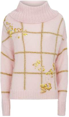 DELPOZO Floral Embroidered Metallic Rollneck Sweater