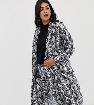 Pink Clove duster jacket in snake print co-ord