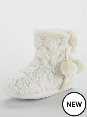 Knitted Slipper Boots Shopstyle Uk