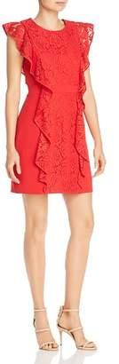 BCBGMAXAZRIA Eve Lace-Trimmed Ruffled Sheath Dress