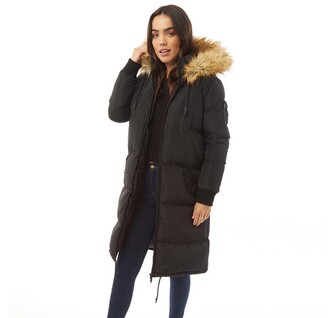 Brave Soul Womens Marcello Long Fur Trim Hooded Puffer Black