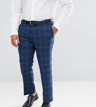 Asos Design PLUS Slim Suit Trousers in 100% Wool Harris Tweed Herringbone In Blue Check