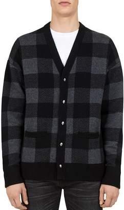 The Kooples Buffalo-Check Merino Wool Cardigan Sweater