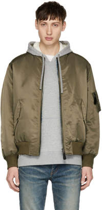 Yves Salomon Reversible Khaki Four Merinos Bomber Jacket