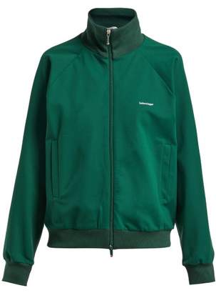 Balenciaga Logo Zip Through Crepe Track Jacket - Womens - Green