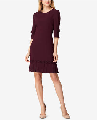 Tahari ASL Bow & Pleated Crepe Sheath Dress