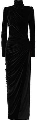 Gathered Stretch-velvet Maxi Dress - Black