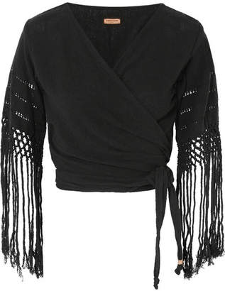 Caravana - Luum Fringed Cotton-gauze Wrap Top - Black