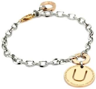 """Rebecca Word"""" Gold Over Bronze Letter """"U"""" Bracelet"""