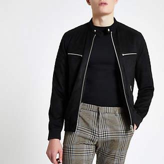 Mens Black faux suede racer neck jacket