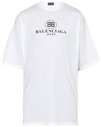 Balenciaga Bb Print Cotton T Shirt - Mens - White