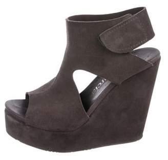 Pedro Garcia Suede Peep-Toe Wedge Sandals Grey Suede Peep-Toe Wedge Sandals