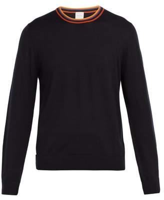 Paul Smith Artist Stripe Trimmed Wool Sweater - Mens - Navy