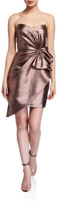 Aidan Mattox Metallic Jacquard Strapless Side Bow Asymmetrical Dress