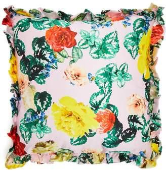 Floral silk-satin cushion