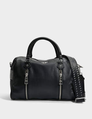 Zadig & Voltaire Sunny Spike Medium Bag in Black Cow Leather